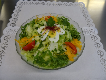 Grüner-Salat  French Sauce in Glasschale (6 Personen)